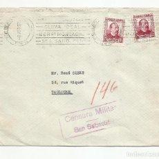 Sellos: CIRCULADA 1937 D HOTEL Mª CRISTINA SAN SEBASTIAN CLIMA IDEAL A TOULOUSE FRANCIA CON CENSURA MILITAR. Lote 218410843