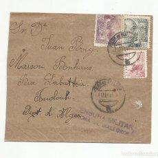 Sellos: CIRCULADA 1942 DE PALMA DE MALLORCA A FOUDOUH ALGER FRANCIA CON CENSURA MILITAR. Lote 218411090