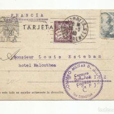 Sellos: TARJETA CIRCULADA 1940 DE SAN SEBASTIAN A BIARRITZ FRANCIA CON CENSURA MILITAR. Lote 218411432