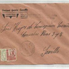 Sellos: CIRCULADA 1937 DE MONTIJO BADAJOZ A SEVILLA CON CENSURA MILITAR Y SELLO LOCAL. Lote 218414857