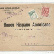 Sellos: CIRCULADA 1937 BANCO HISPANO A DE PALMA DEL RIO CORDOBA A SEVILLA CON CENSURA MILITAR Y SELLO LOCAL. Lote 218419246