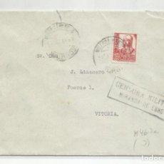 Sellos: CIRCULADA 1938 DE AYUNTAMIENTO MIRANDA DE EBRO BURGOS A VITORIA CON CENSURA MILITAR. Lote 218419410