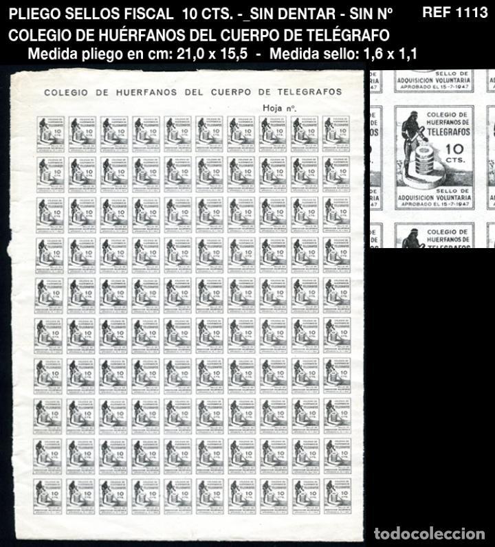 PLIEGO FISCALES 10 CTS - SIN DENTAR - SIN Nº - COLEGIO DE HUÉRFANOS DEL CUERPO DE TELÉGRAFO REF1113 (Sellos - España - Guerra Civil - Beneficencia)