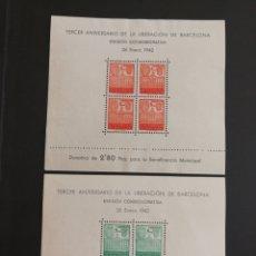 Sellos: ESPAÑA, N°38/39 MNG(*) SIN GOMA BARCELONA 1942 (FOTOGRAFÍA REAL). Lote 218588021