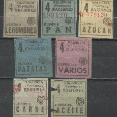 Sellos: 713A-SELLOS RACIONAMIENTO VALENCIA ESPAÑA 1939 GUERRA CIVIL ABASTECIMIENTOS Y TRANSPORTES CUOTAS.. Lote 218782418