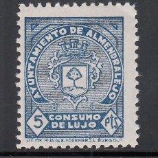 Sellos: AYUNTAMIENTO DE ALMENDRALEJO, (BADAJOZ), CONSUMO DE LUJO. 5 PTS AZUL. Lote 218843643