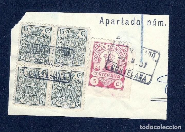 A1-2765 GUERRA CIVIL CORTEGANA FESOFI Nº 6 VALOR 5 CTS ROSA CON BLOQUE DE 4 DEL FISCAL POSTAL Nº 89 (Sellos - España - Guerra Civil - Locales - Cartas)