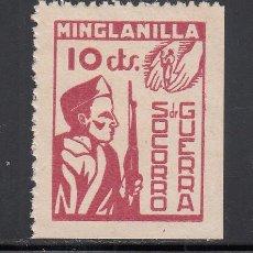 Sellos: SOCORRO DE GUERRA. MINGLANILLA (CUENCA) 10 C ROJO, (AL.1). Lote 219130110