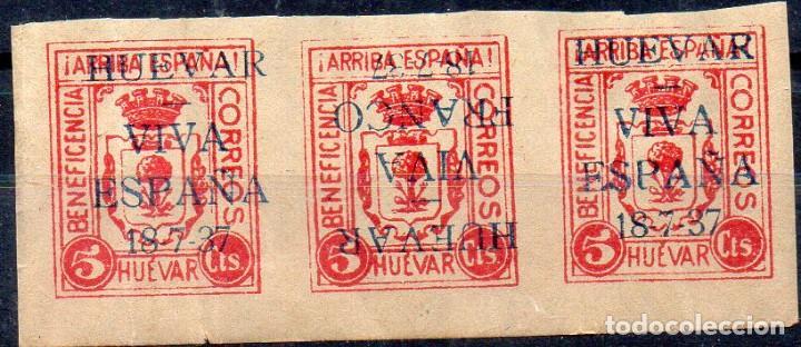 HUEVAR-SEVILLA- 5 CTS, -BENEFICENCIA- ROSA, TRIO, SOBRECARGA INVERTIDA, MUY RARO (Sellos - España - Guerra Civil - Beneficencia)