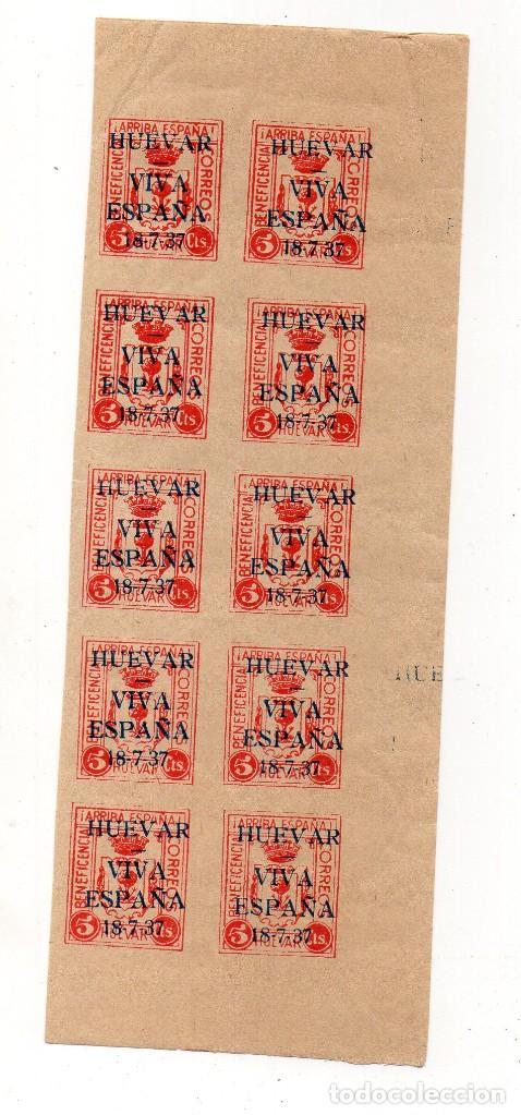 HUEVAR-SEVILLA- 5 CTS, -BENEFICENCIA- ROSA, TIRA DE 10, SIN DENTAR, MUY RARO (Sellos - España - Guerra Civil - Beneficencia)