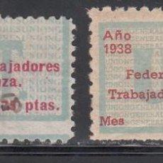 Sellos: U.G.T. FEDERACIÓN ESPAÑOLA DE TRABAJADORES DE LA ENSEÑANZA, 1,5 PTS, 2 PTS, (AL.857, 858). Lote 219275240