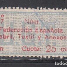Sellos: U.G.T. FEDERACIÓN ESPAÑOLA DE FABRIL, TEXTIL Y ANEXOS, 25 C CARMÍN Y AZUL, CUOTA 1937 (AL.880). Lote 219276987