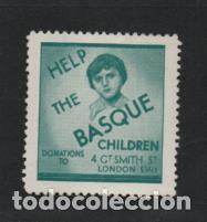 Sellos: VIÑETA- LONDO- HELP THE BASQUE CHILDREN- DONATIONS- VER FOTO - Foto 1 - 219378448