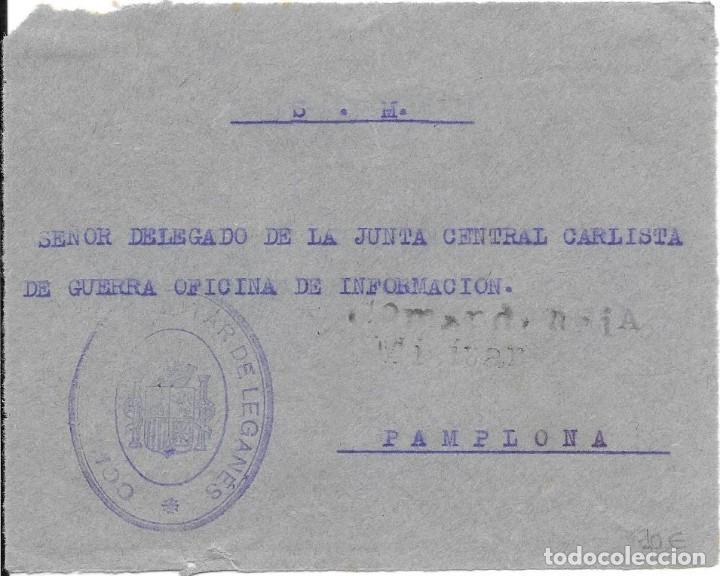 Sellos: MADRID LEGANES. GUERRA CIVIL LOTE DE 2 CARTAS ENVIADAS DESDE SU COMANDANCIA MILITAR - Foto 3 - 219631166