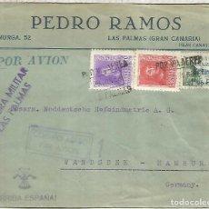 Timbres: CANARIAS GUERRA CIVIL CC LAS PALMAS A ALEMANIA CORREO AEREO CENSURA MILITAR SELLO SOBRECARGADO AERE. Lote 219631782