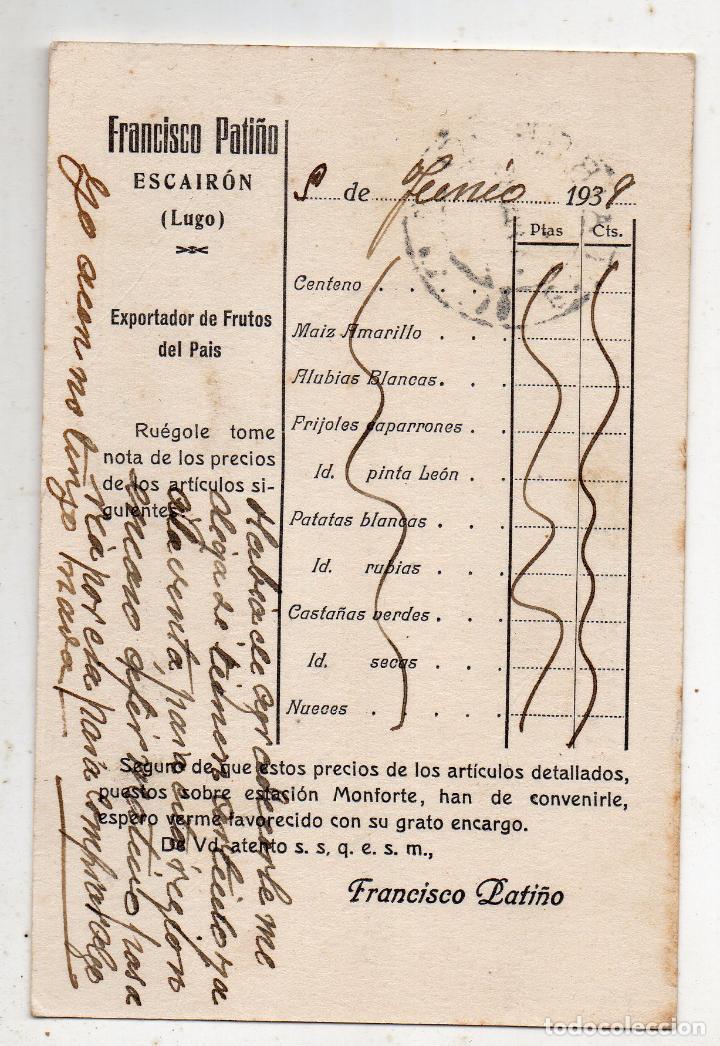 Sellos: Tarjeta publicitaria antigua con Censura Militar de Monforte. Lugo. - Foto 2 - 219696763