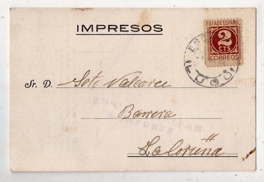 TARJETA PUBLICITARIA ANTIGUA CON CENSURA MILITAR DE MONFORTE. LUGO. (Sellos - España - Guerra Civil - De 1.936 a 1.939 - Cartas)