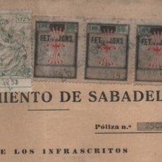 Sellos: SABADELL- CONTRATO PARA AGUA DE CONSUMO DOMESTICO,- VARIOS SELLO LOCALES F.E.Y POLIZA, VER FOTO. Lote 219814073