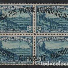 Sellos: II ANIVERSARIO DE LA DEFENSA DE MADRID, BLOQUE DE 4 ,ED. Nº 790, VER FOTO. Lote 219835862