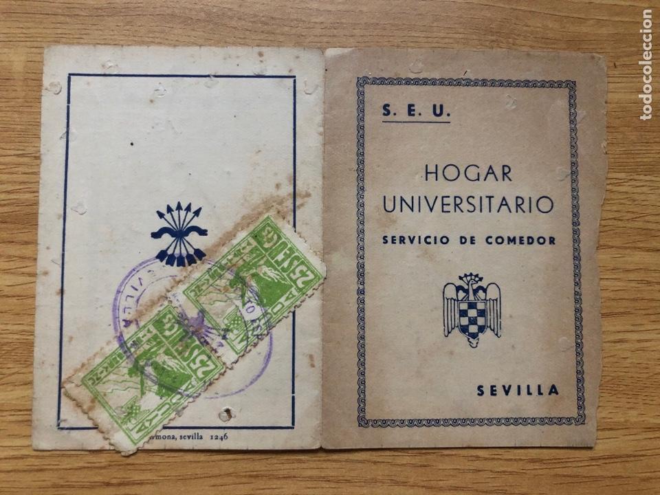 FALANGE SEU HOGAR UNIVERSITARIO SEVILLA CARTILLA COMEDOR (Sellos - España - Guerra Civil - De 1.936 a 1.939 - Usados)