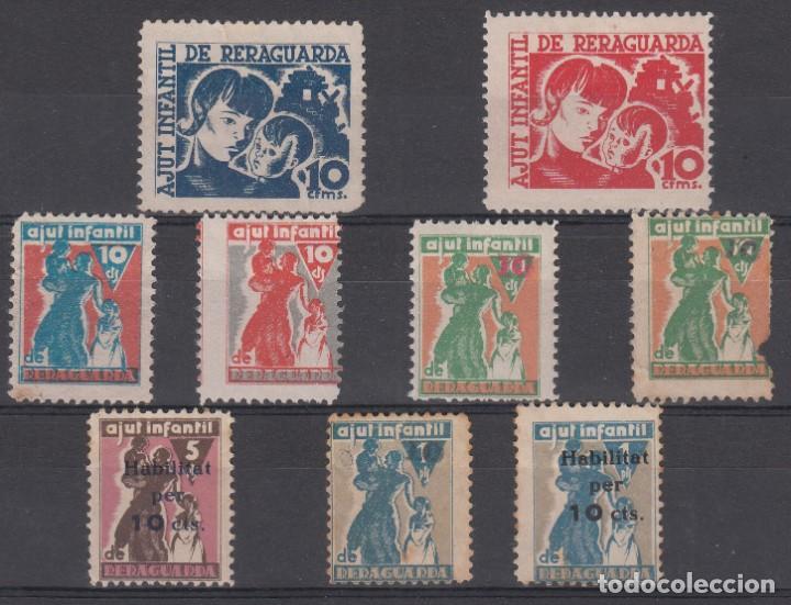 LOTE DE 9 VIÑETAS DISTINTAS DE AJUT INFANTIL DE RERAGUARDA (Sellos - España - Guerra Civil - Viñetas - Usados)