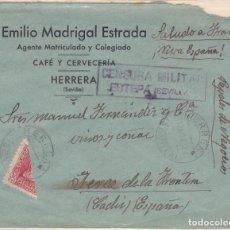 Sellos: CARTA DE HERRERA A JEREZ CON SELLO 857 BISECTADO Y CENSURA ESTEPA.. Lote 220594545