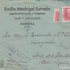Sellos: CARTA DE HERRERA A JEREZ CON SELLO 857 Y TRISECTADO Y CENSURA ESTEPA.. Lote 220594710
