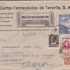 Sellos: CARTA DE TENERIFE A JEREZ CON INTERESANTE FRANQUEO Y PUBLICIDAD AL DORSO. Lote 220595691