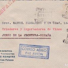 Timbres: CARTA DE LAS PALMAS A JEREZ CON INTERESANTE FRANQUEO Y MATASELLO AEREO. Lote 220595996