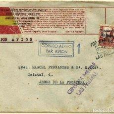 Sellos: CARTA DE LAS PALMAS A JEREZ CON FRANQUEO CANARIAS MATASELLO AEREO Y CENSURA. Lote 220596288