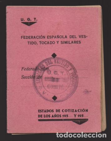 VALENCIA-- CARNET DE U.G.T. -- SIN CUOTAS-- VER FOTOS (Sellos - España - Guerra Civil - Viñetas - Usados)