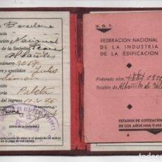 Sellos: BARCELONA- U.G.T. CARNET Y LIBRETA D COTIZACION-- CON 5 CUOTAS 1936 Y 5 CUOTAS 1937 - VER FOTOS. Lote 220692687
