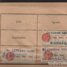Sellos: MADRID,- U.G.T. SINDICATO NAC. FERROVIARIO- CON 3 CUOTAS OCT-NOV-Y DIC. 1936. VER FOTOS. Lote 220693042