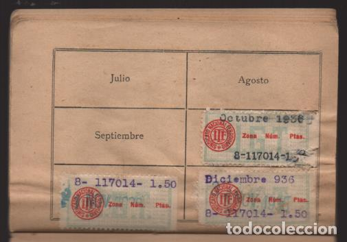 Sellos: MADRID,- U.G.T. SINDICATO NAC. FERROVIARIO- CON 3 CUOTAS OCT-NOV-Y DIC. 1936. VER FOTOS - Foto 12 - 220693042