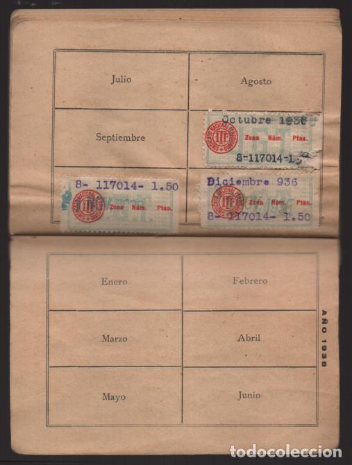 Sellos: MADRID,- U.G.T. SINDICATO NAC. FERROVIARIO- CON 3 CUOTAS OCT-NOV-Y DIC. 1936. VER FOTOS - Foto 13 - 220693042