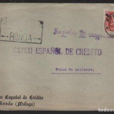 Sellos: CARTA CIRCULADA DE RONDA-MALAGA- A PALMA DE MALLORCA,- VER FOTO. Lote 221095047