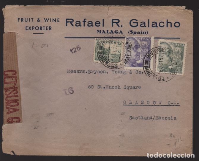 CARTA CIRCULADA DE MALAGA A ESCOCIA- REVERSO- CENSURA S Y E - VER FOTOS,- (Sellos - España - Guerra Civil - Locales - Cartas)