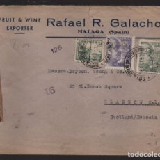 Sellos: CARTA CIRCULADA DE MALAGA A ESCOCIA- REVERSO- CENSURA S Y E - VER FOTOS,-. Lote 221095800