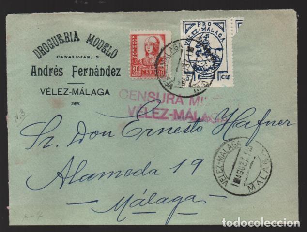 VELEZ-MALAGA- A MALAGA.-FRONTAL-- DROGUERIA MODELO- COMERCIAL- VER FOTO (Sellos - España - Guerra Civil - Locales - Cartas)