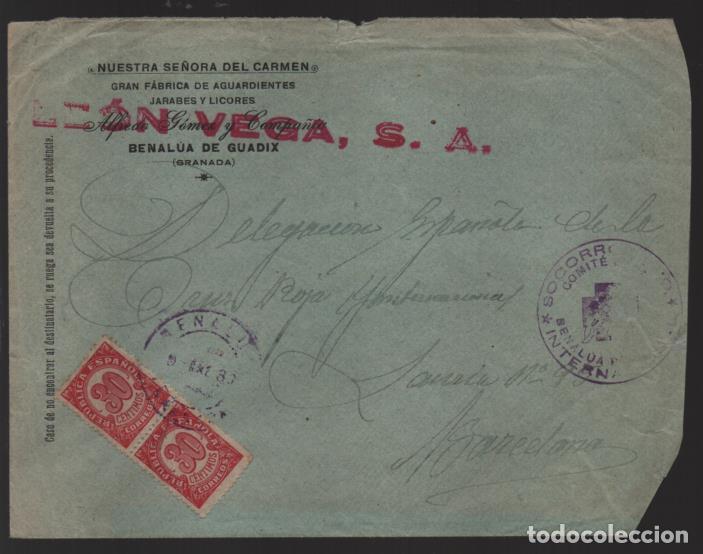 CARTA BENALUA DE GUADIX,-GRANADA- SELLADO: SOCORRO ROJO INTERNACIONAL- VER FOTOS (Sellos - España - Guerra Civil - Locales - Cartas)
