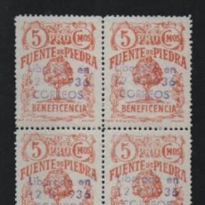 Sellos: FUENTE PIEDRA-MALAGA- BLOQUE DE 4 SELLOS CON SOBRECARGA- VER FOTO. Lote 221101167