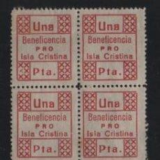 Sellos: ISLA CRISTINA, 1 PTA,- HOJITA DE 10 SELLOSCON VARIEDADES.- VER FOTOS. Lote 221101795
