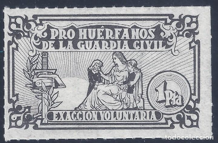 PRO HUÉRFANOS DE LA GUARDIA CIVIL. 1 PESETA. MNH ** (Sellos - España - Guerra Civil - Beneficencia)