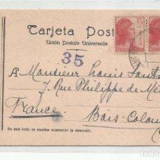 Sellos: TARJETA POSTAL CIRCULADA 1938 DE EL ESCORIAL MADRID A BAIS COLOMBES FRANCIA CON CENSURA REPUBLICANA. Lote 221222745