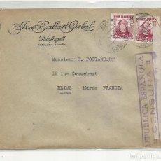 Sellos: CIRCULADA 1936 DE PALAFRUGELL GERONA A REIMS FRANCIA CON CENSURA REPUBLICANA. Lote 221223222
