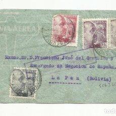 Sellos: CIRCULADA 1943 DE MARQUES DEL REAL TESORO DE JEREZ A LA PAZ BOLIVIA CON CENSURA. Lote 221223380
