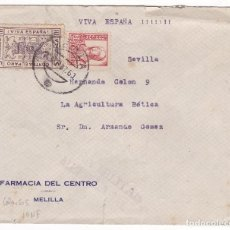Sellos: F28-32- GUERRA CIVIL. CARTA MELILLA -SEVILLA 1937. LOCAL Y CENSURA. Lote 221327567