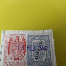 Sellos: 1940 ABASPOS MATARO ESPECIAL FACTURAS RECIBOS MATARO SELLO MUNICIPAL 25 CÉNTIMOS MATASELLO. Lote 221336391