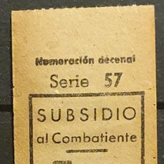 Sellos: GUERRA CIVIL. BARCELONA SUBSIDIDO AL COMBATIENTE. NUMERACION DECENAL. SIN NUMERO DE SERIE. Lote 221408681