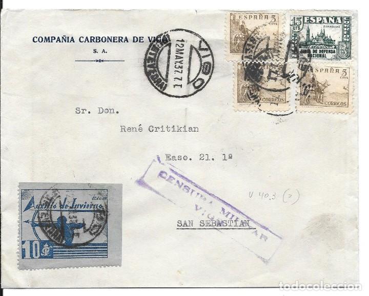AUXILIO DE INVIERNO ARQUERO. EDIFIL 806 - 816 TRES. DE VIGO A SAN SEBASTIAN 1937 (Sellos - España - Guerra Civil - De 1.936 a 1.939 - Cartas)